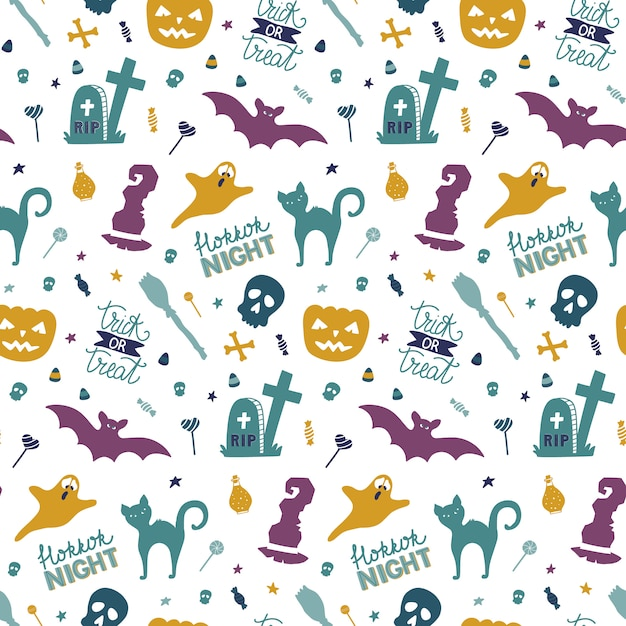 Funny hand drawn seamless pattern for halloween. Premium Vector