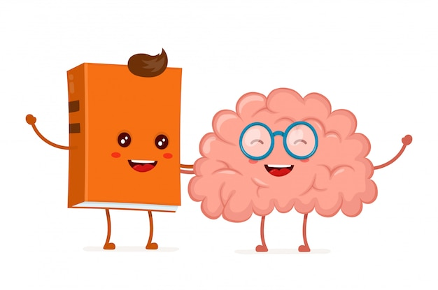 Funny happy cute smiling hipster book and brain in glasses. Premium Vector