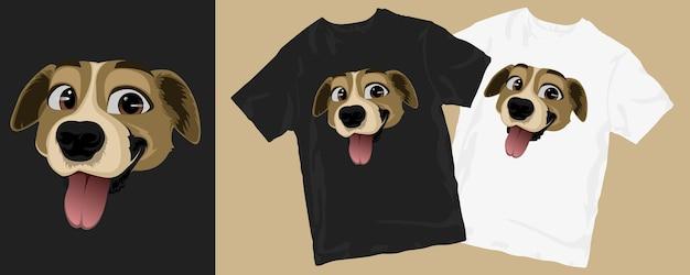 재미 있은 행복 한 강아지 만화 티셔츠 디자인 프리미엄 벡터