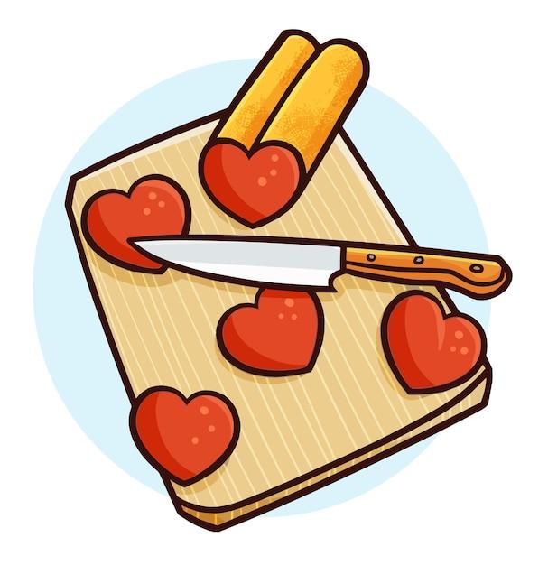 Смешное сердце на разделочной доске в простом стиле каракули Premium векторы