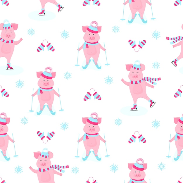 Funny hog on skates. cute piggy skiing. piglets on winter vacation. cartoon pigs outdoors. seamless pattern for the new year and christmas Premium Vector