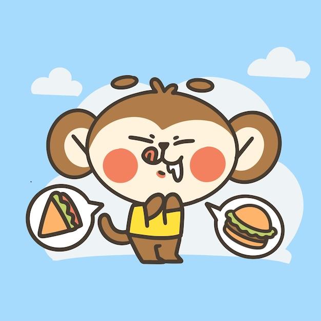 面白い空腹の小さな猿の少年落書きイラスト Premiumベクター