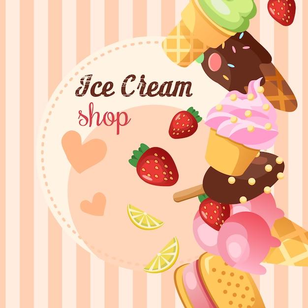 Funny ice cream background. Free Vector
