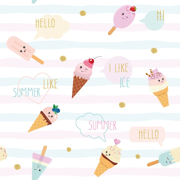 Funny ice-cream seamless pattern background. Premium Vector