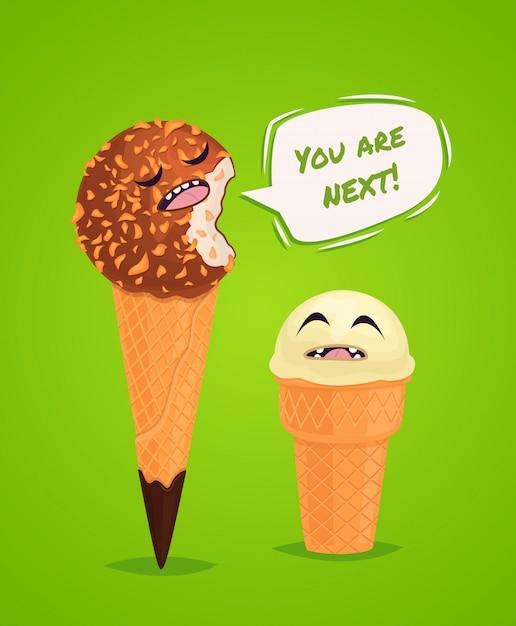Funny ice creams poster Premium Vector