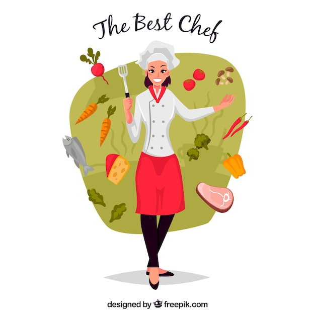 Funny illustration of chef with ingredients Free Vector