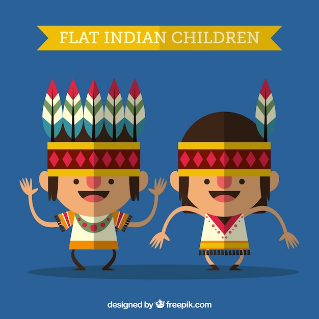 Funny indian children in flat style