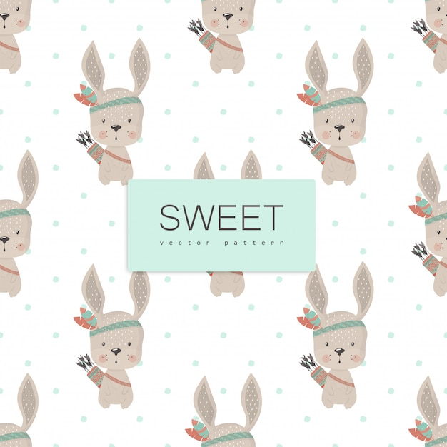 Funny indian rabbit, hand drawn Free Vector
