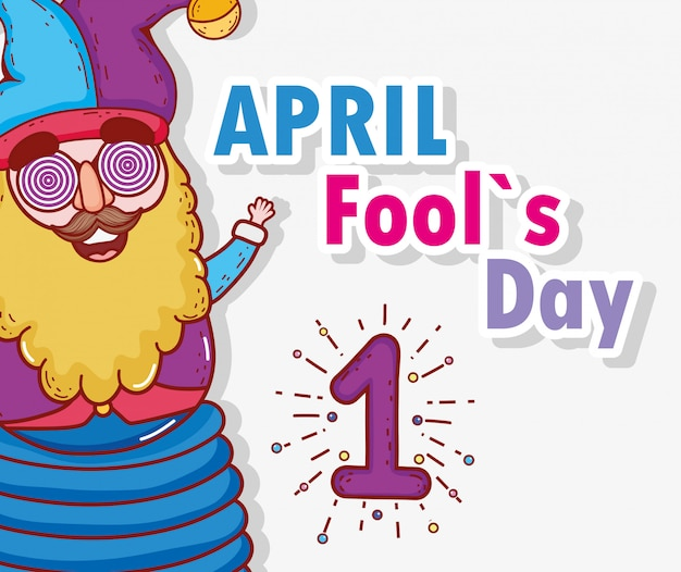 Funny jester to april fools day Premium Vector