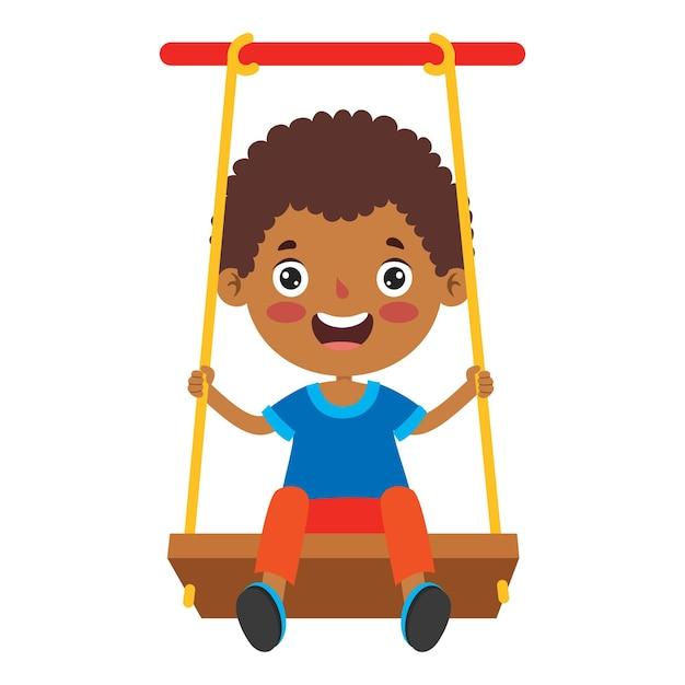 ブランコで遊ぶ面白い子供 Premiumベクター