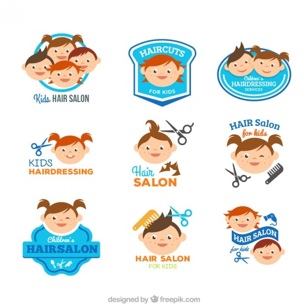 Funny Kids Hairdressing Logos Vector Premium Download