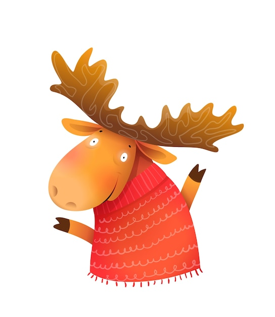 Funny kids moose or elk wearing knitted sweater, wintertime and christmas kids greeting card character. kids cheerful animal illustration, cartoon in watercolor style. Premium Vector