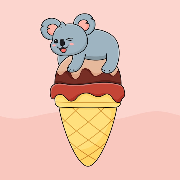 Funny koala on ice cream Premium Vector