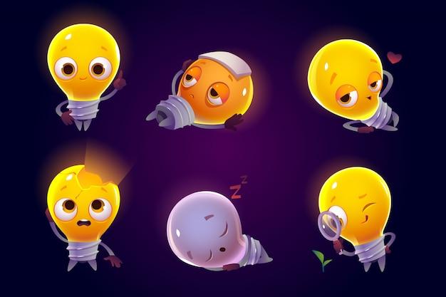 Funny light bulbs characters emoji icons set. Free Vector