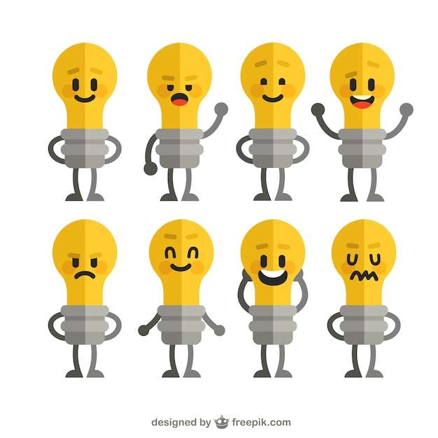 Funny lightbulbs collection Free Vector