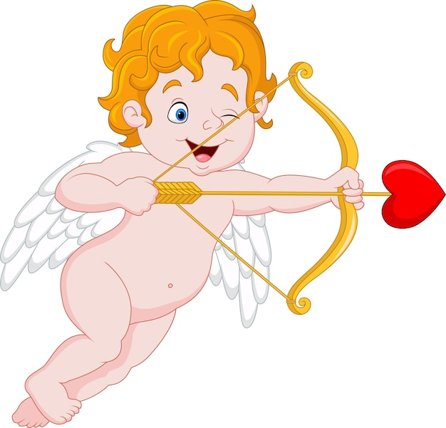 Funny little cupid aiming at someone Premium Vector