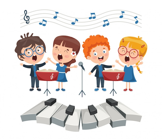 Funny little kids performing music Premium Vector