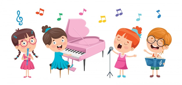 Funny little kids performing music Premium Vector