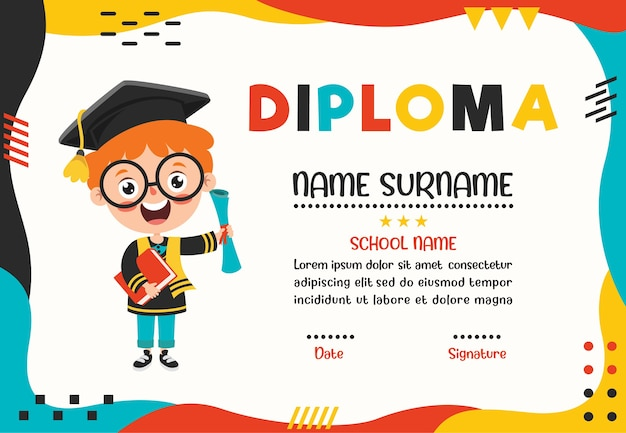 Funny little school kid character Premium Vector