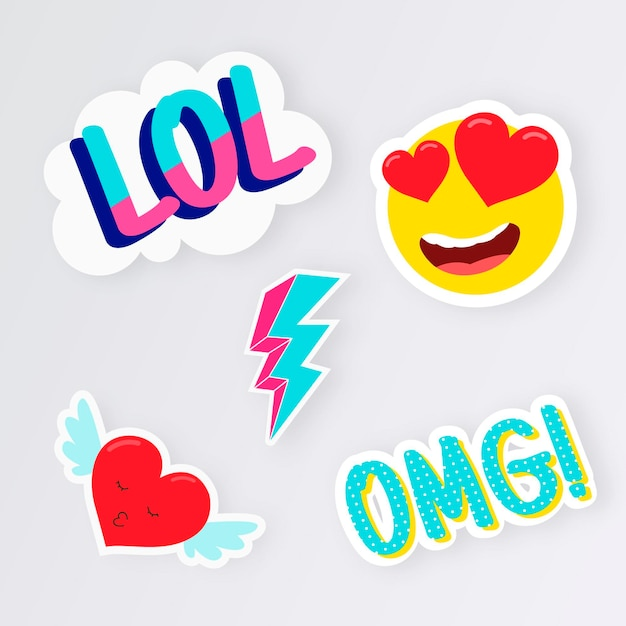Funny lol stickers collection Premium Vector