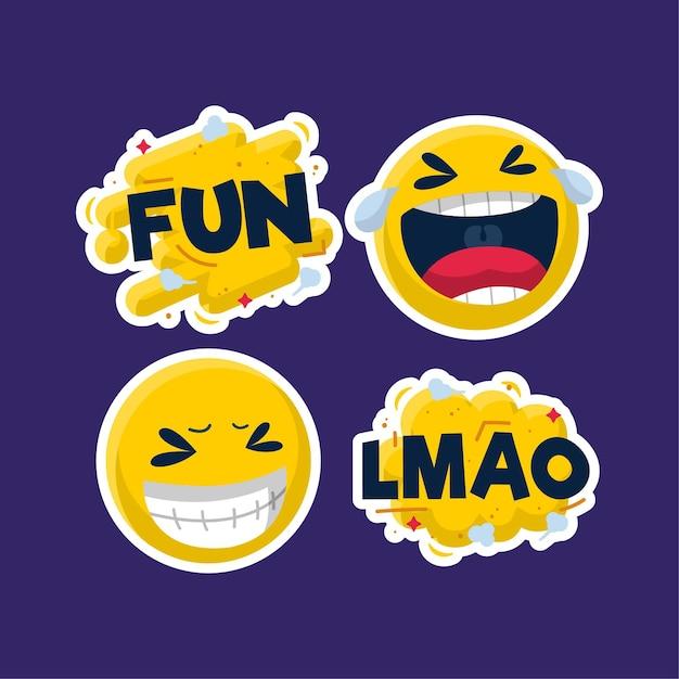 Funny lol stickers concept Premium Vector