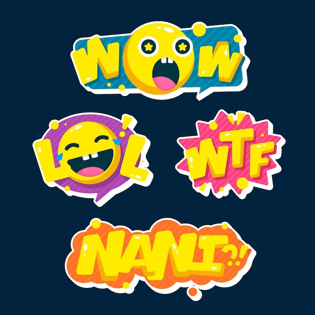 Funny lol stickers concept Free Vector