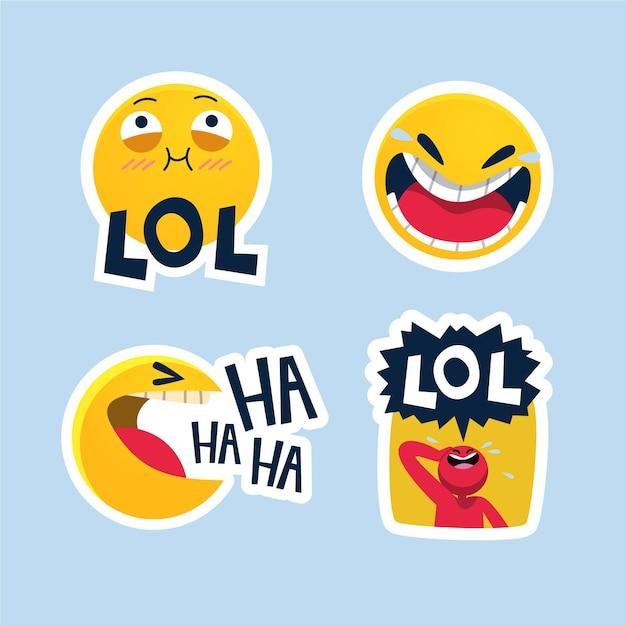 Смешные наклейки lol Бесплатные векторы