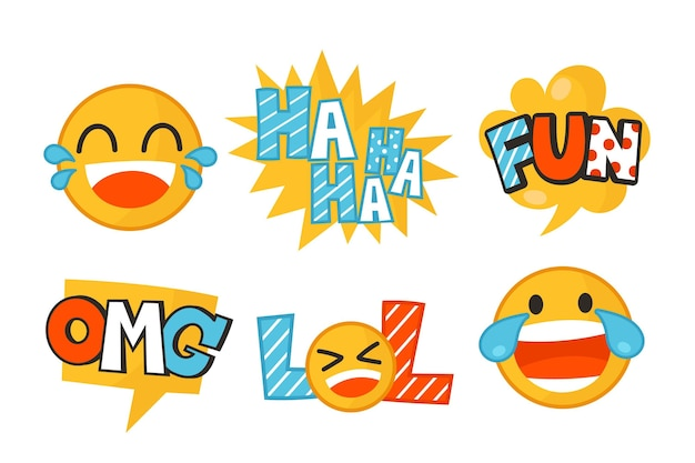 Funny lol stickers Free Vector