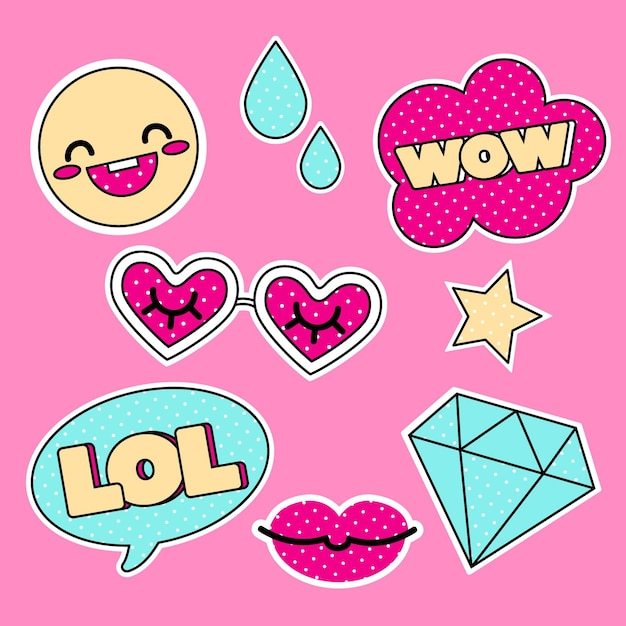 Funny lol and wow stickers Free Vector