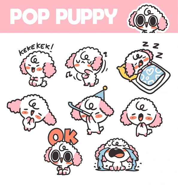 Funny and lovely pop puppy volume 1 sticker asset  illustration. best for app, project. print Premium Vector