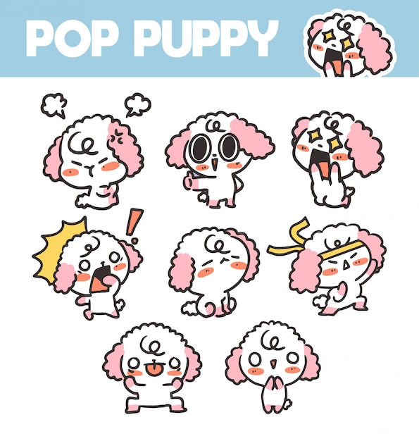 Funny and lovely pop puppy volume 2 sticker asset  illustration. best for app, project. print Premium Vector