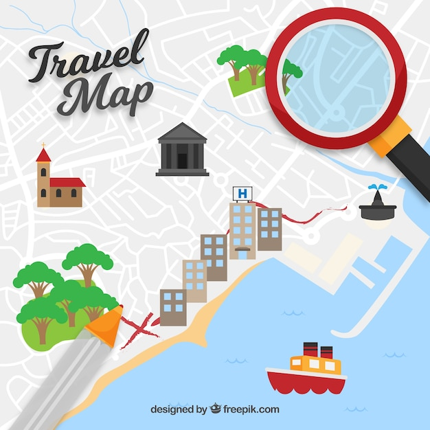 Funny map and travel elements with flat design Free Vector