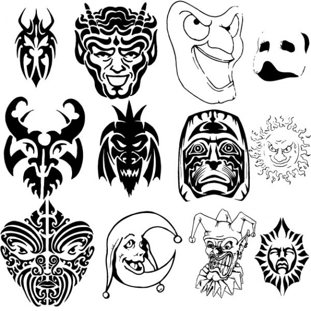 Funny masks collection vector illustrations Free Vector