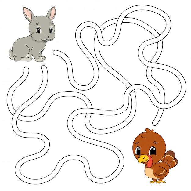 Забавный лабиринт игра для детей. пазл для детей. мультяшный стиль загадка лабиринта. Premium векторы