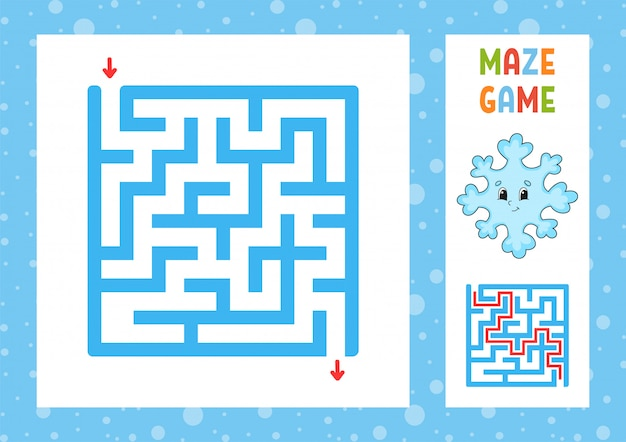 Funny maze. game for kids. puzzle for children. happy character. labyrinth conundrum. color vector illustration. Premium Vector