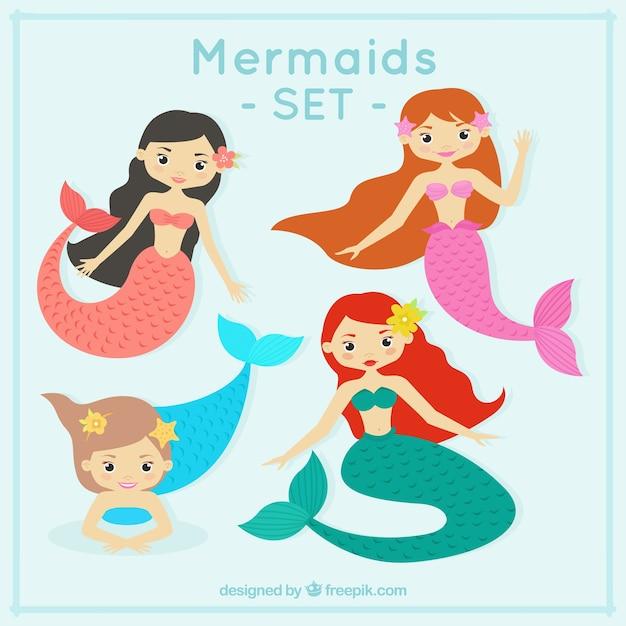 Funny mermaids design Free Vector