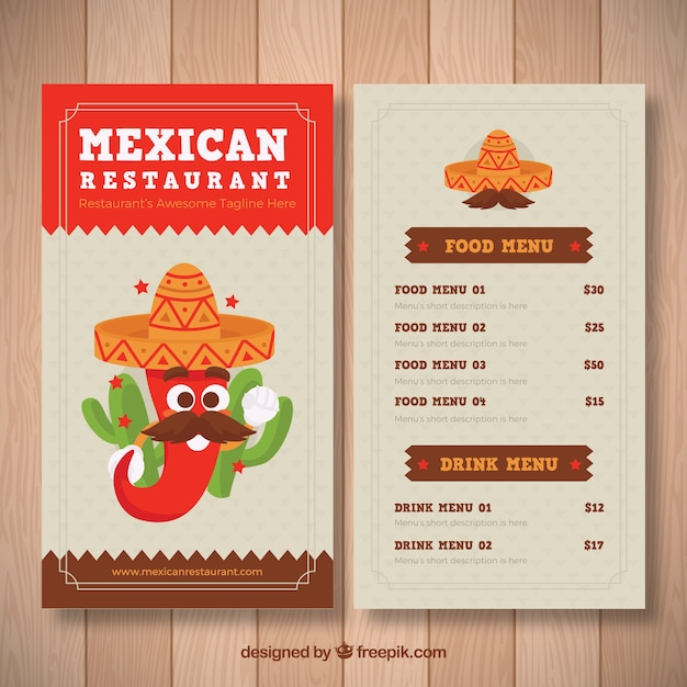 Funny mexican food menu template Free Vector