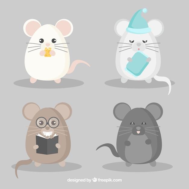Funny mice breed set Premium Vector