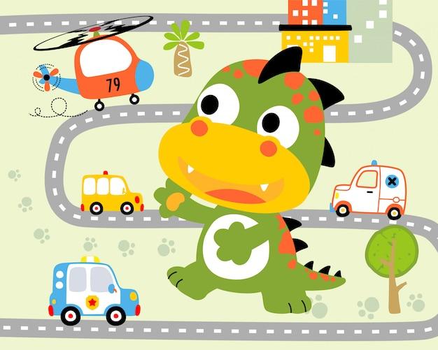 Funny monster cartoon in city road Premium Vector