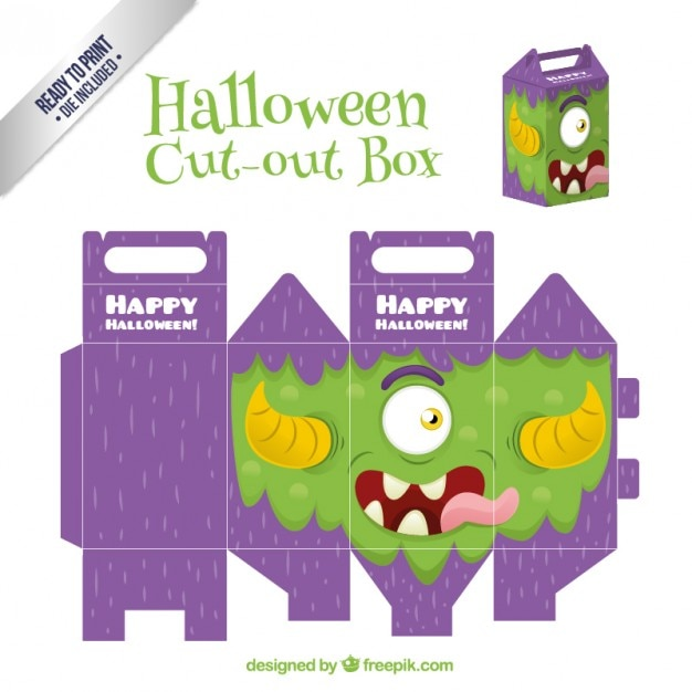 Funny monster cut out box for halloween Free Vector