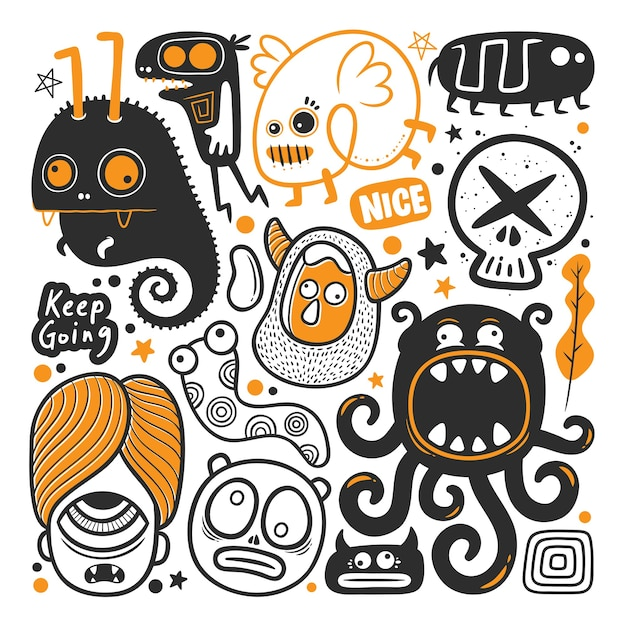 Funny monster  hand drawn doodle vector Free Vector