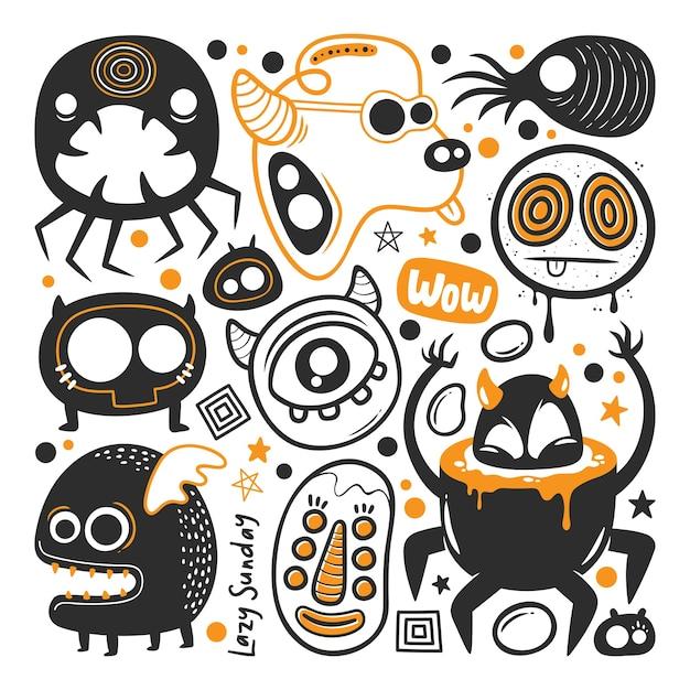 Vettore di doodle disegnato a mano mostro divertente Vettore gratuito
