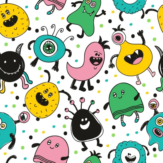 Funny monster pattern Free Vector