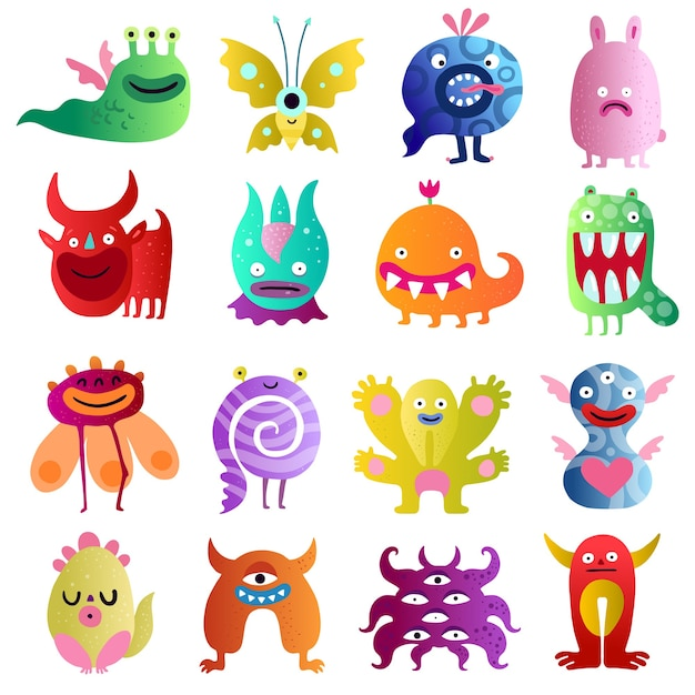 Funny monsters big colorful collection with bull scared plant peanut in love  spiral creatures isolated Free Vector