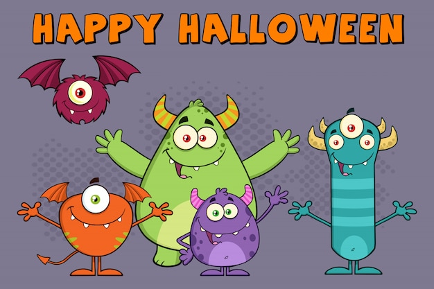 Funny monsters cartoon characters illustration greeting card Premium Vector