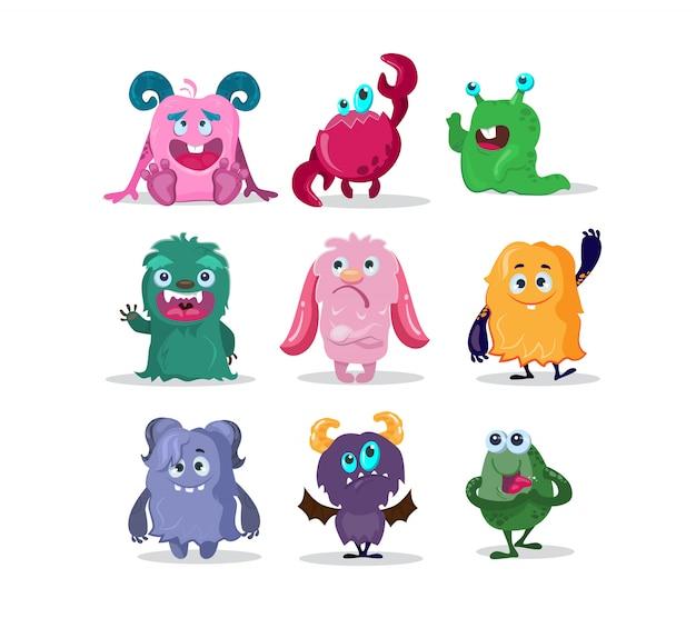 Set di personaggi dei cartoni animati divertenti mostri Vettore gratuito