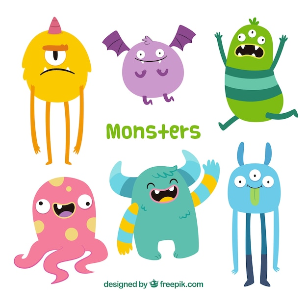 Funny monsters collection in hand drawn style Free Vector