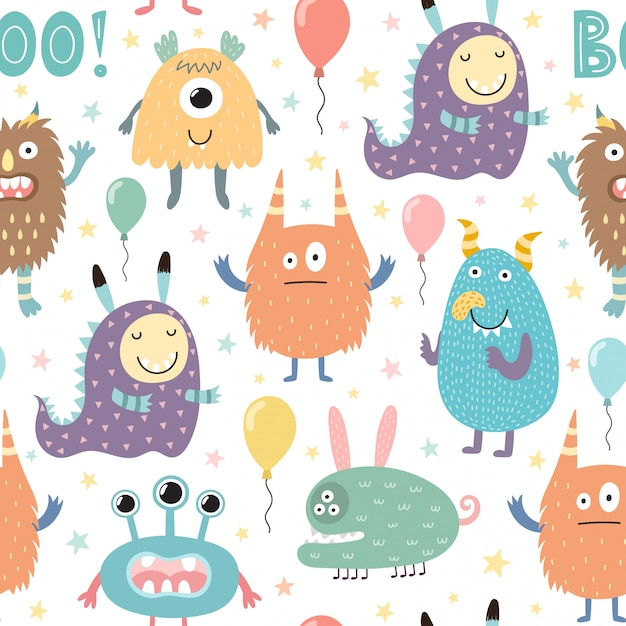 Funny monsters seamless pattern Premium Vector