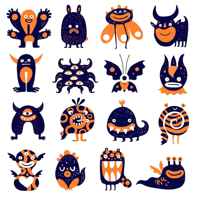 Funny monsters set Free Vector