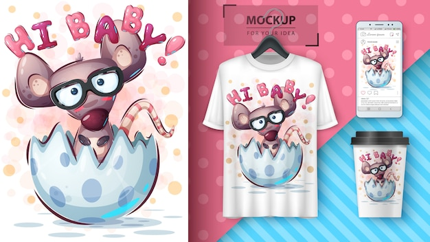Funny mouse poster and merchandising Free Vector